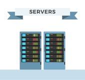 För internetdatorhall för vektor tekniskt avancerad server Royaltyfri Illustrationer