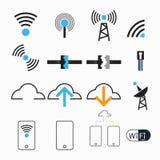 För internetnätverk för vektorer trådlös antenn Arkivbild