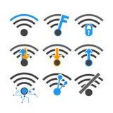 För internetnätverk för vektorer trådlöst symbol Arkivbilder