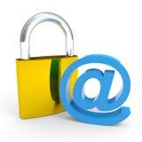 för internetpost för begrepp e tecken för säkerhet för padlock Arkivbild