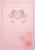 För invatationkort för bröllop rosa mall Royaltyfria Foton