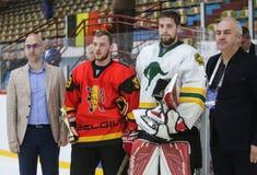 För ISHOCKEYVÄRLD för 2017 IIHF MÄSTERSKAP - Australien vs Belgien royaltyfria foton