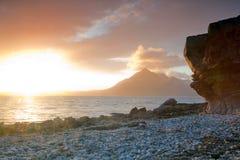 för islescotland för elgol höglands- solnedgång skye Royaltyfri Foto