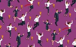 För Isometry sömlös bakgrunds-, affär 3d dam och affärsmän som hoppar och jublar, gyckel som mottar ett pris, lycka vektor illustrationer