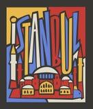 För istanbul för vektor touristic hand dragen affisch stad stock illustrationer