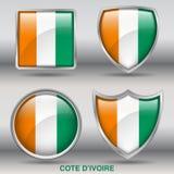 För `-ivoire för skjul D flagga i samling för 4 former med den snabba banan Arkivfoto