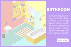 För jackettinre för vektor isometrisk låg poly illustartion badrum Baner för en webbplats Fotografering för Bildbyråer