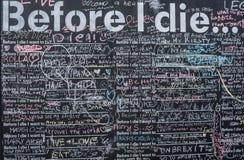 För jag dör önska på svart tavla i Brighton Royaltyfria Foton
