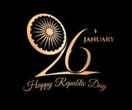 För Januari för Indien republikdag 26 guld- vektor begrepp royaltyfri illustrationer
