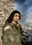 För Jeanne D för kvinnakrigareriddare båge ` i harnesk mot bakgrunden av slagfältet vektor illustrationer