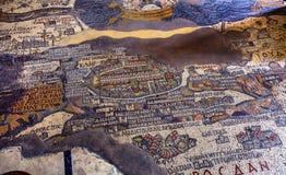 för Jerusalem mosaisk St George för 6th århundrade Jordanien för kyrka ` s Royaltyfria Bilder