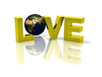 för jordklotförälskelse för jord 3d reflekterande planet Royaltyfria Bilder