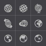 För jordklotsymboler för vektor svart uppsättning stock illustrationer