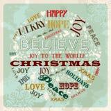 För julbegrepp för tappning glad cirkel Royaltyfri Fotografi