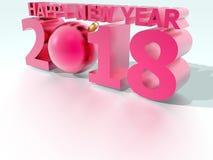 För julboll för lyckligt nytt år 2018 rosa färger Vektor Illustrationer
