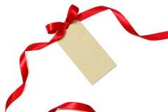 för juldjup för bakgrund använd blank suddighet etikett för rött band för lampor för gåva för fält grund Royaltyfri Fotografi