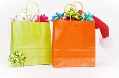 för julförsäljning för påse görad randig blå snowflake för shopping Royaltyfria Bilder