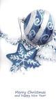 för julgarnering för baubles blå white Fotografering för Bildbyråer