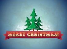 För julhälsning för tappning blått kort med träd Arkivbild