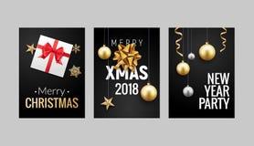 För julhälsning för nytt år design för reklamblad eller för broschyr för bakgrund för kort Garnering för julferiebaner vektor illustrationer