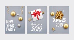 För julhälsning för nytt år design för reklamblad eller för broschyr för bakgrund för kort Guld- garnering för julferiebaner stock illustrationer