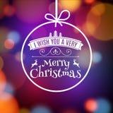För julkortaffisch för vektor glad design Inbjudanmall för xmas-ferie Hälsa bollgarnering royaltyfri illustrationer