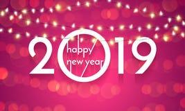 2019 för julljus för lyckligt nytt år kort för vektor royaltyfri illustrationer