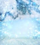 för juloklarheter för bakgrund ser blå lägre för kullar för lutning för flakes för färger sammansättning räknad horisontalmin por royaltyfri bild