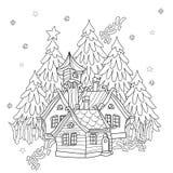 För julsaga för vektor gulligt klotter för by Royaltyfri Fotografi