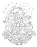 För julsaga för vektor gulligt klotter för stad Royaltyfri Bild