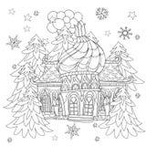 För julsaga för vektor gulligt klotter för stad Royaltyfri Foto