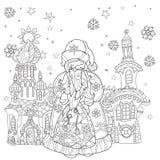 För julsaga för vektor gulligt klotter för stad Royaltyfri Fotografi