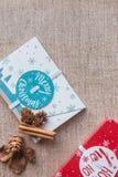 för julsammansättning för bauble blått exponeringsglas E Lekmanna- lägenhet royaltyfri foto