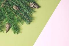 för julsammansättning för bauble blått exponeringsglas Jul inramar gjort av barrträd royaltyfri bild