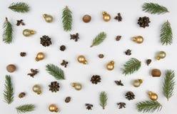 för julsammansättning för bauble blått exponeringsglas Modellen som göras av, sörjer filialer och julgarneringar på vit bakgrund  Royaltyfri Fotografi