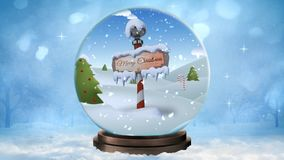 För julsnöjordklot 4K för nordpolen glad ögla royaltyfri illustrationer