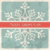 För julsnowflake för tappning glad vykort royaltyfri illustrationer