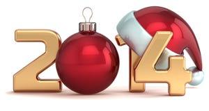 För jultomtenhatt för lyckligt nytt år 2014 jul klumpa ihop sig Arkivbild