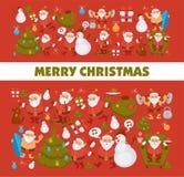 För jultomtentecknad film för glad jul som snögubbe och hund firar ferieskidåkning och surfar vektorhälsningkortet Arkivbild