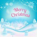 För julträdet för julsnö parkerar vanlig ferie royaltyfri illustrationer
