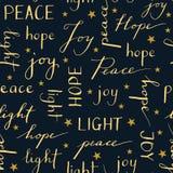 För jultypografi för hand fred Joy Hope Light för ord för kalligrafi för ferie för vinter för modell för skriftlig vektor sömlös royaltyfri illustrationer