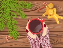 För julvektor för hand utdragen bakgrund, händer i stack handskar som rymmer den röda koppen kaffe på den bruna trätabellen med c stock illustrationer