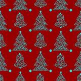 För julvinter för nytt år modell för ferier sömlös med den julträdet och klockan royaltyfri illustrationer