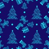 För julvinter för nytt år modell för ferier sömlös med gåvor, pepparkakan, julträdet och leksaker stock illustrationer