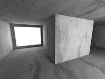 För källarerum för mörker konkret inre med utgångsljus Architectu Arkivfoto
