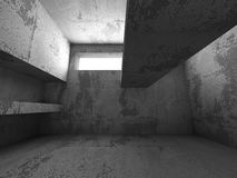 För källarerum för mörker konkret inre med utgångsljus Architectu Royaltyfri Bild