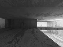 För källarerum för mörker konkret inre med utgångsljus Architectu Royaltyfria Bilder