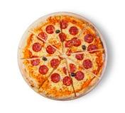 för kökpeperoni för bakgrund italiensk white för pizza Arkivbilder