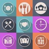För köksymbol för vektor idérik logo för mat Arkivbild