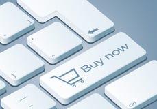För köp tangent nu - tangentbord med illustrationen för begrepp 3D royaltyfri illustrationer